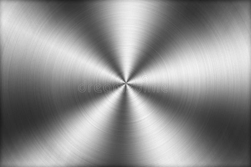 Cirkulär borstad metalltexturbakgrund, illustration stock illustrationer
