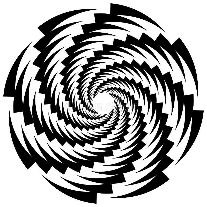 Cirkulär roterande spiral, virvelbeståndsdel, motiv Abstrakt geome vektor illustrationer