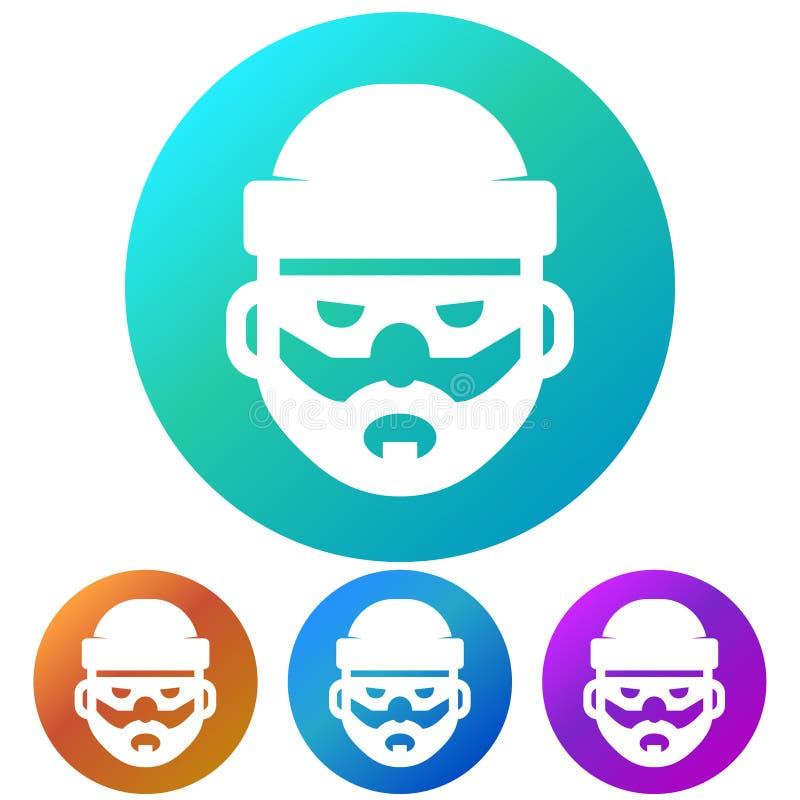 Cirkulär symbol för huvud för lutningdatoren hacker Fyra färgvariationer stock illustrationer