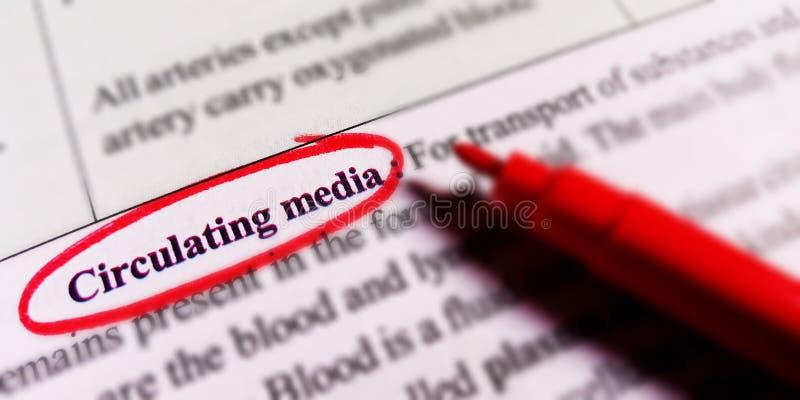 cirkulera medietext som täcker över röd färgmarkör royaltyfria bilder