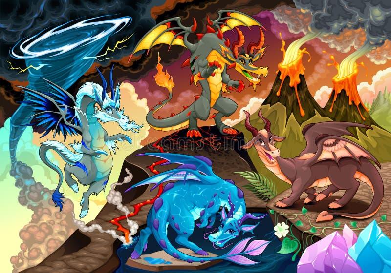 Cirkulering av luft, jord, brand och vatten med varje drake vektor illustrationer