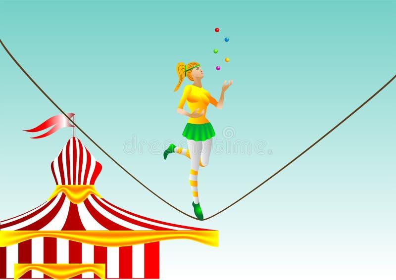 Cirkus. flicka på ett rep vektor illustrationer