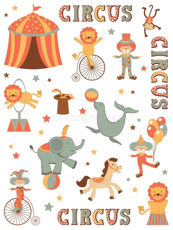 Cirkus i stad vektor illustrationer