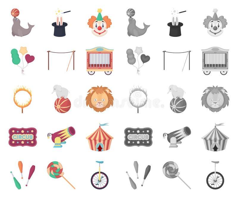Cirkus och attributtecknad film, mono symboler i den fastställda samlingen för design Illustration för rengöringsduk för materiel stock illustrationer