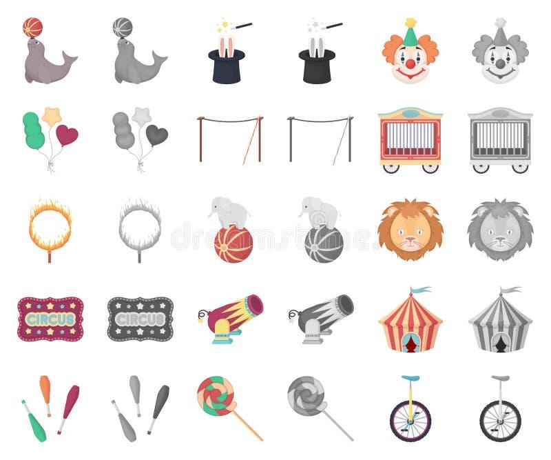 Cirkus och attributtecknad film, monochromsymboler i den fastställda samlingen för design Rengöringsduk för materiel för symbol f stock illustrationer