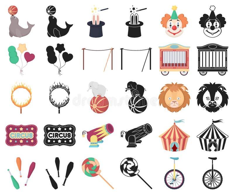 Cirkus och attributtecknad film, svarta symboler i den fastställda samlingen för design Illustration för rengöringsduk för materi vektor illustrationer