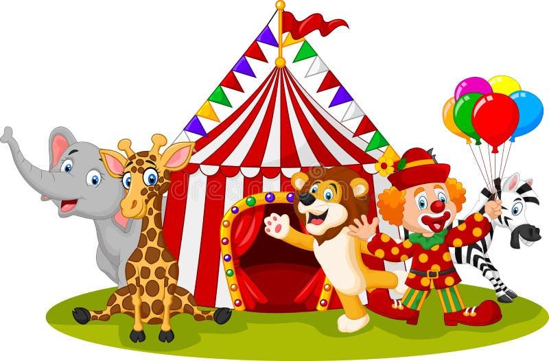 Cirkus och clown för tecknad film lycklig djur stock illustrationer