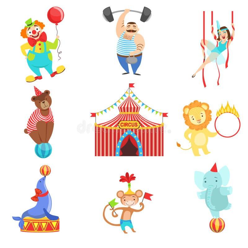 Cirkus släkt objekt och teckenuppsättning royaltyfri illustrationer