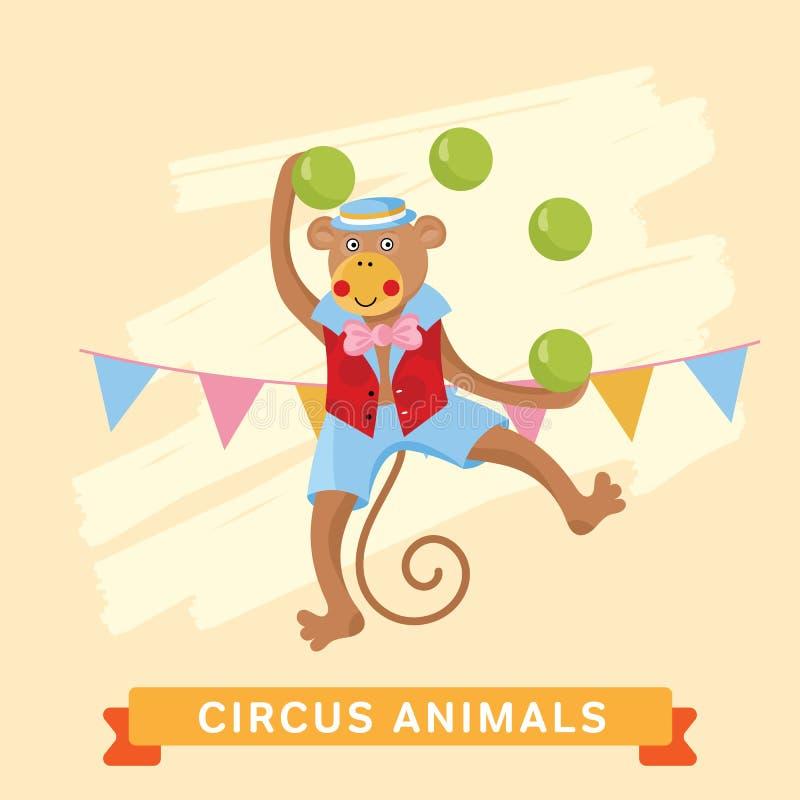 Cirkusapa, vektordjurserie stock illustrationer