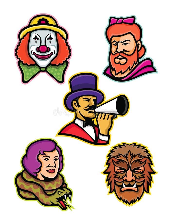 Cirkusartist- och missfostermaskotsamling vektor illustrationer