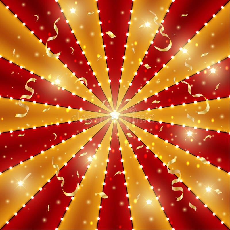 Cirkusbakgrund av röda och guld- linjer band med stjärnakonstellationer, ljusa kulor och glitter Retro mall för solstrålstrå royaltyfri illustrationer