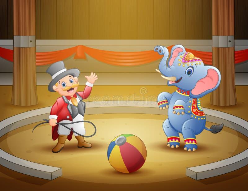 Cirkuscirkusdirektören utför ett trick tillsammans med elefant i arena vektor illustrationer