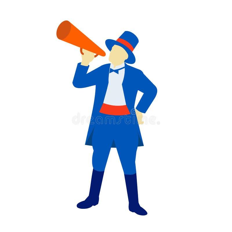 Cirkusdirektör som ropar den Retro megafonen royaltyfri illustrationer