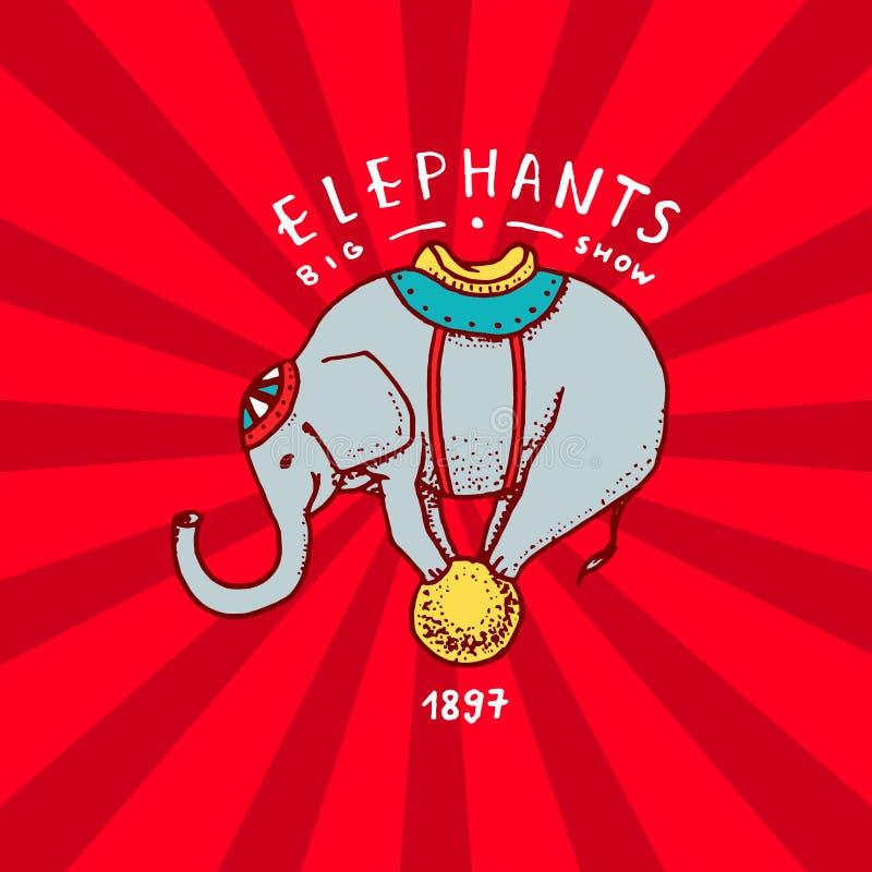 Cirkuselefantemblem Kapacitet på bollen Tappningkarnevallogoer eller emblem Etikett för festivalbanret och royaltyfri illustrationer