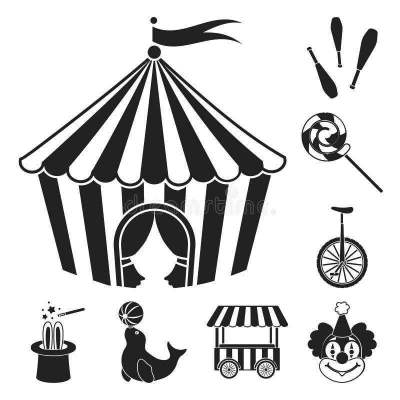Cirkusen och attribut svärtar symboler i uppsättningsamlingen för design Illustration för rengöringsduk för materiel för symbol f royaltyfri illustrationer