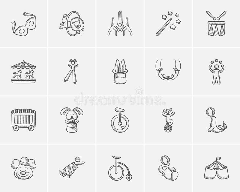 Cirkusen skissar symbolsuppsättningen stock illustrationer