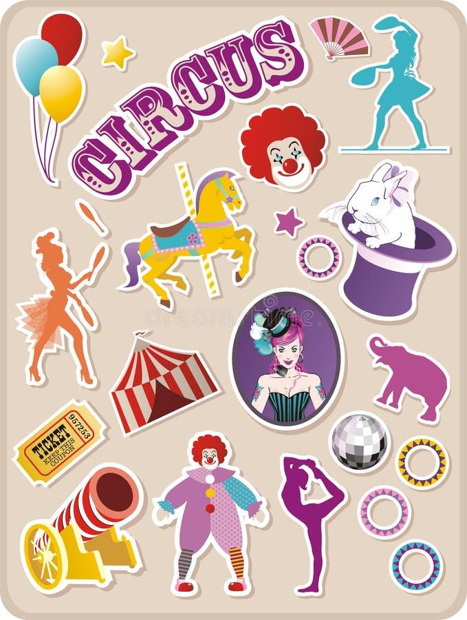 cirkusetiketter royaltyfri illustrationer
