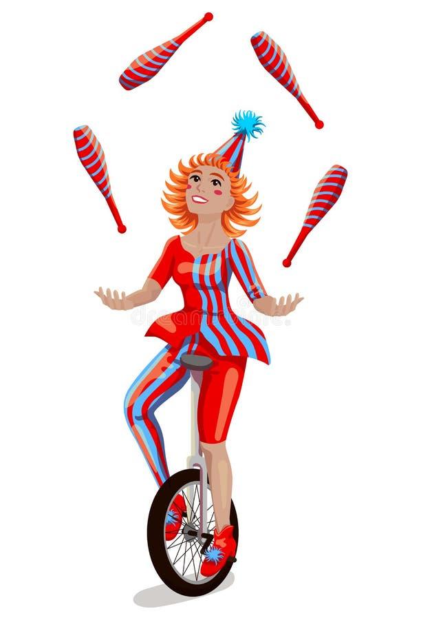 Cirkusflickajonglör på en enhjuling stock illustrationer