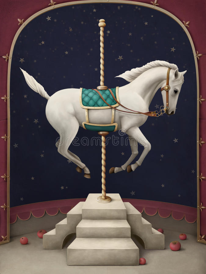 cirkushästwhite royaltyfri illustrationer