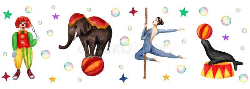 Cirkushorisontalmodell, elefant, clown, skyddsremsa och akrobat Vattenfärgillustration på vit vektor illustrationer