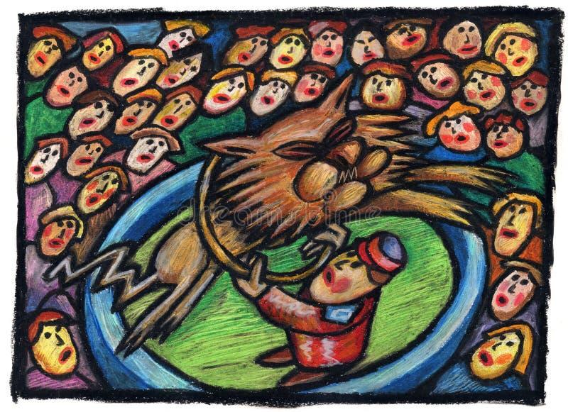Cirkusillustration med lionen stock illustrationer