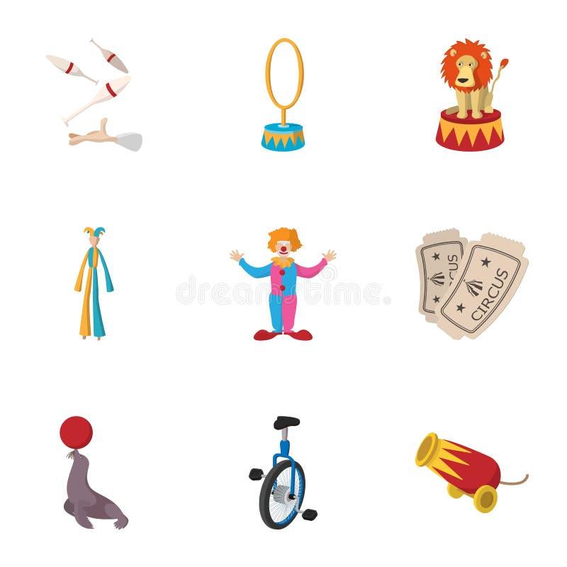 Cirkuskapacitetssymboler uppsättning, tecknad filmstil vektor illustrationer