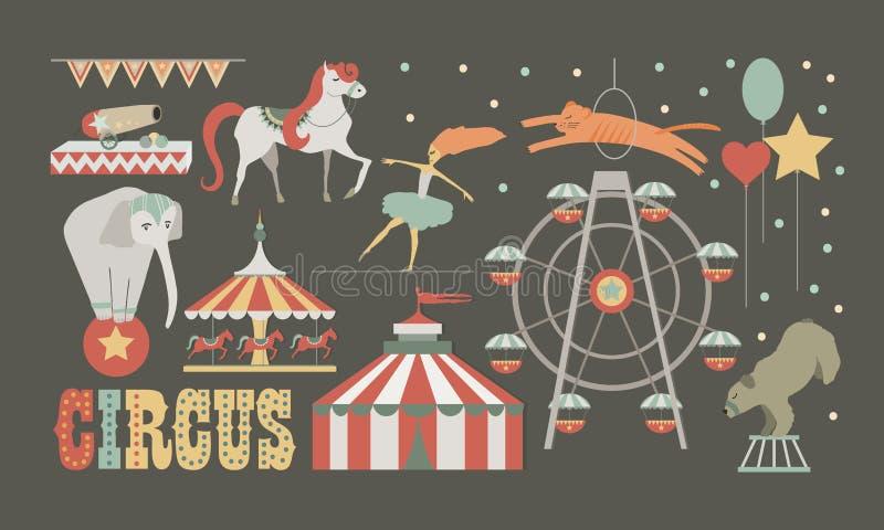 Cirkuskapacitetsuppsättning Människan och djur planlägger beståndsdelar vektor illustrationer