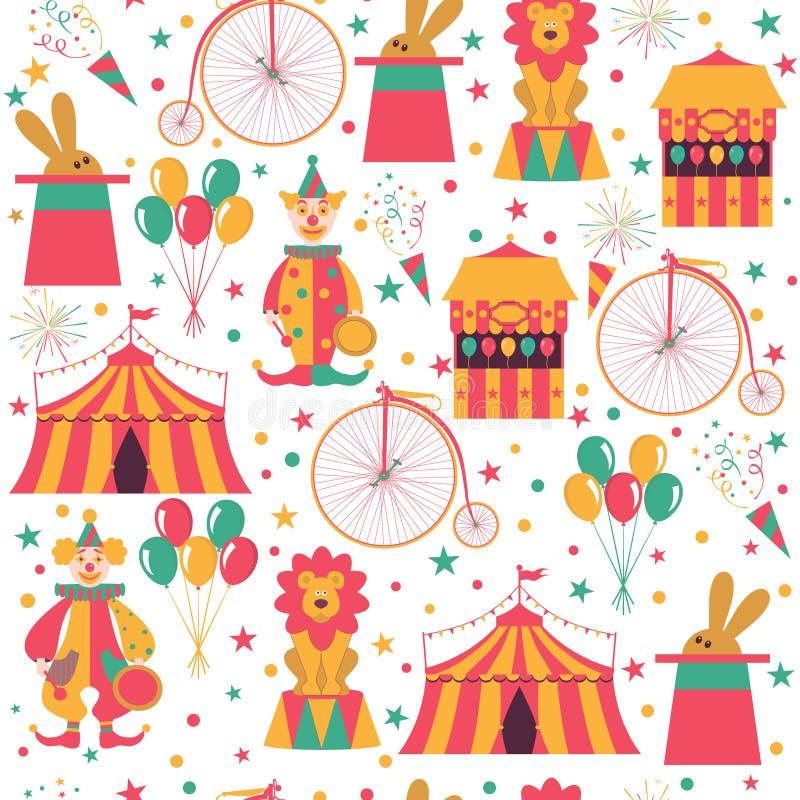 Cirkusmodell med clownen, cykeln, ballonger, kanin i hatt och lejonet vektor illustrationer