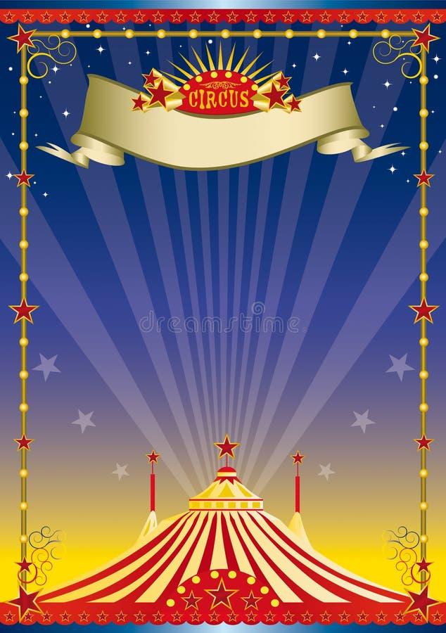 cirkusnattaffisch stock illustrationer