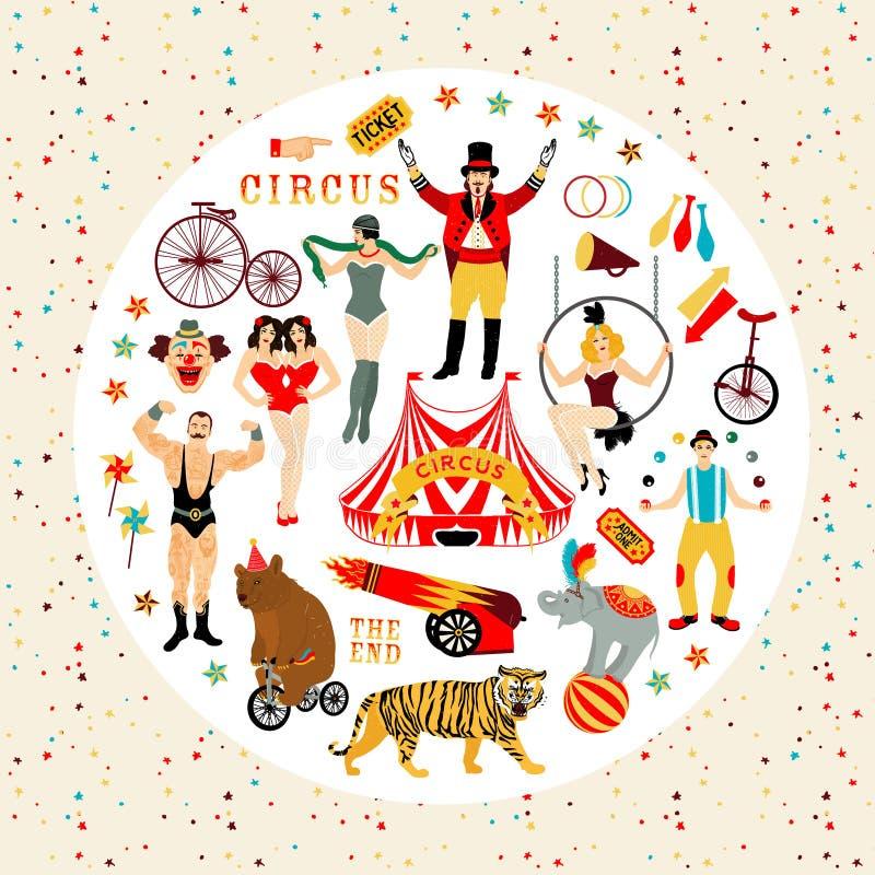Cirkussamling stock illustrationer