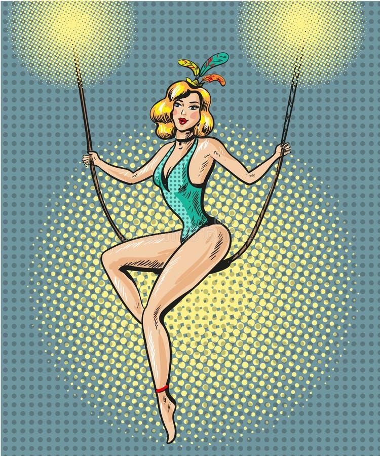Cirkusstift upp illustration för stil för konst för gymnastflickapop retro komisk stock illustrationer