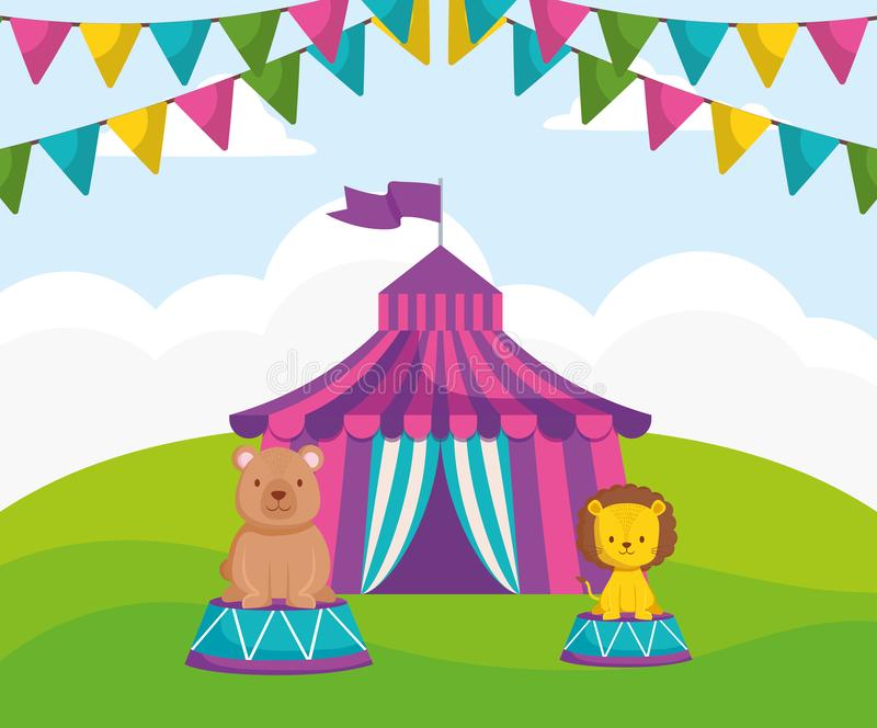 Cirkustält med björnnallen vektor illustrationer
