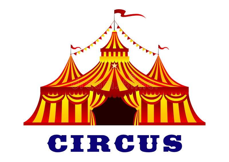 Cirkustält med röda och gula band stock illustrationer