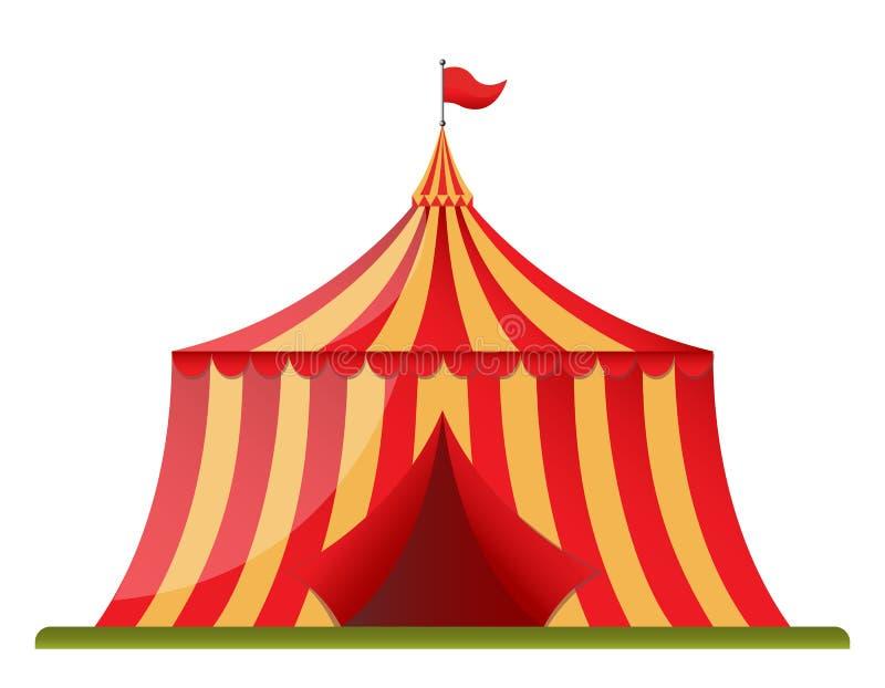 Cirkustappningtält i plan designstil stock illustrationer
