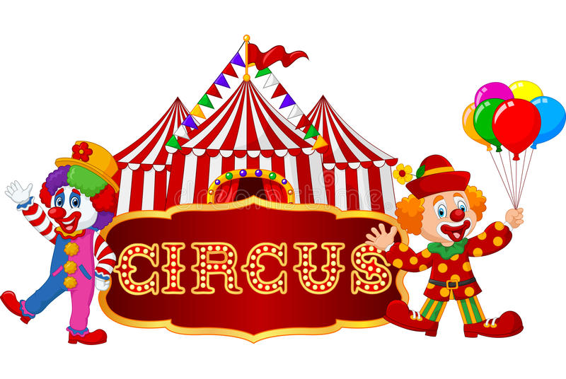 Cirkustent med clownen bakgrund isolerad white stock illustrationer