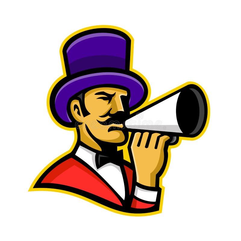 Cirkusupprorsledare eller cirkusdirektörmaskot stock illustrationer