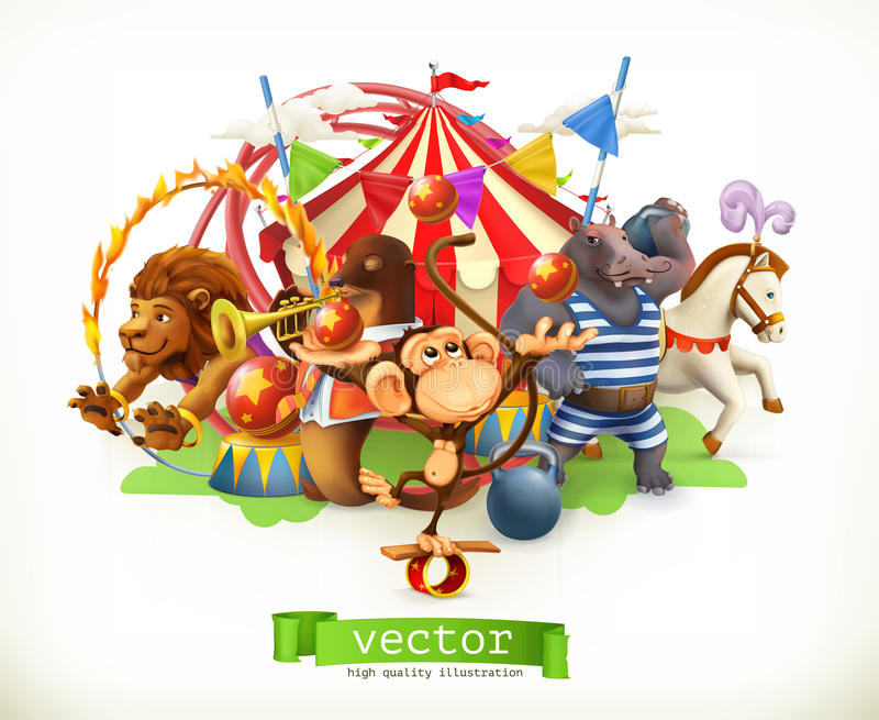 Cirque, animaux drôles Vecteur illustration libre de droits