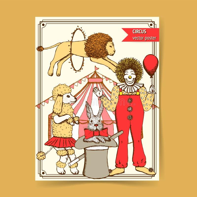 Cirque de croquis dans le style de vintage illustration libre de droits