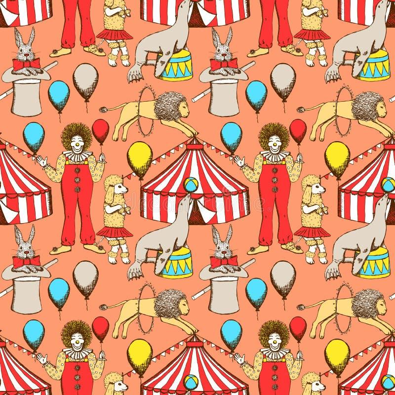 Cirque de croquis dans le style de vintage illustration stock