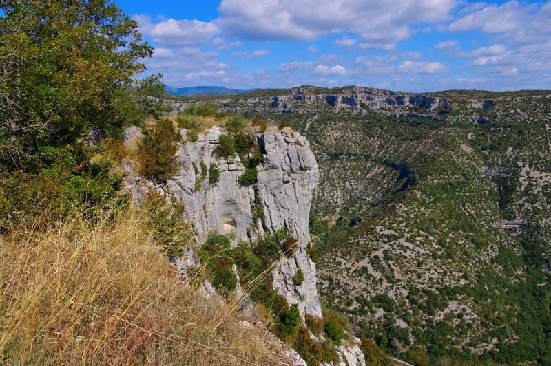 Cirque de Navacelles i södra Frankrike arkivbilder