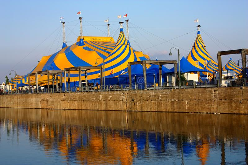 Cirque de Soleil near the Harbour of Montreal, Quebec, Canada. The tents of the Cirque de Soleil at the harbor basins along the Saint Lawrence River in Montreal stock image