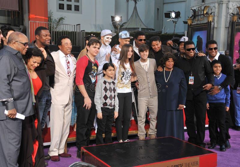 Cirque du Soleil, Justin Bieber, Catalina Jackson, Michael Jackson, príncipe, Quincy Jones, Tito Jackson imágenes de archivo libres de regalías