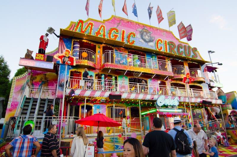 Cirque magique dans la zone de parc à thème à l'exposition de Sydney Royal Easter images libres de droits