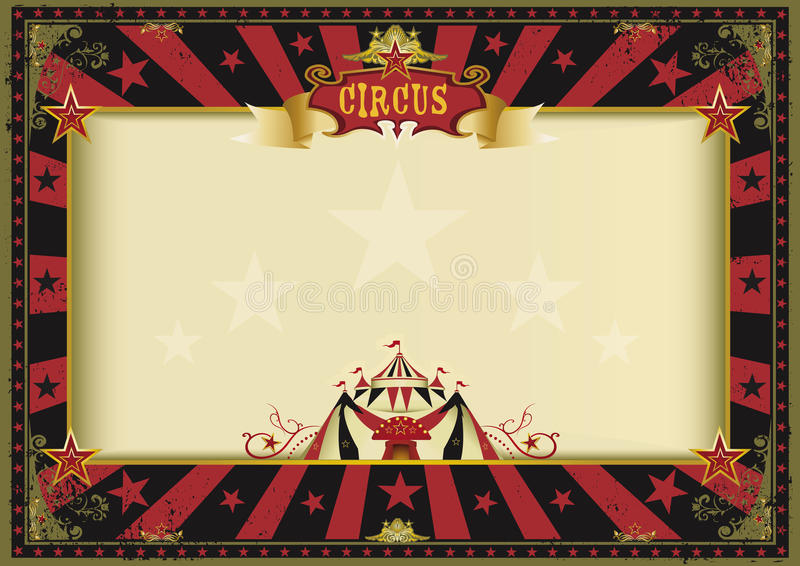 Cirque noir rouge d'affiche horizontale illustration de vecteur