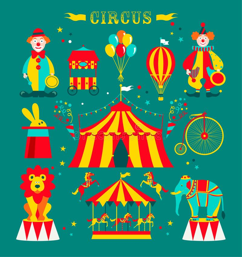 Cirque réglé avec les clowns, l'éléphant, le lion, le carrousel, le vélo et le lapin dans le chapeau illustration de vecteur