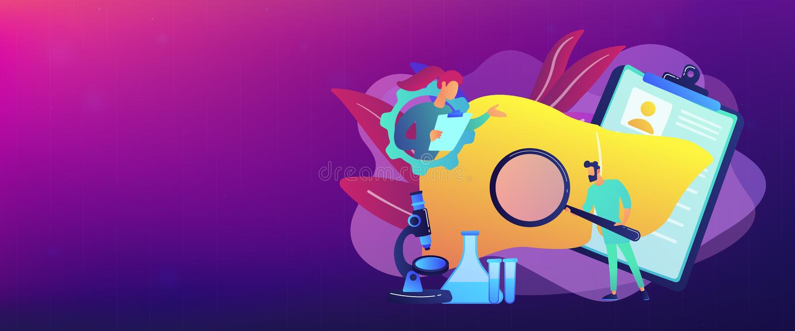 Cirrhosis concept banner header. Doctors examining huge liver with magnifier and microscope. Cirrhosis, cirrhosis of the liver and liver disease concept on vector illustration