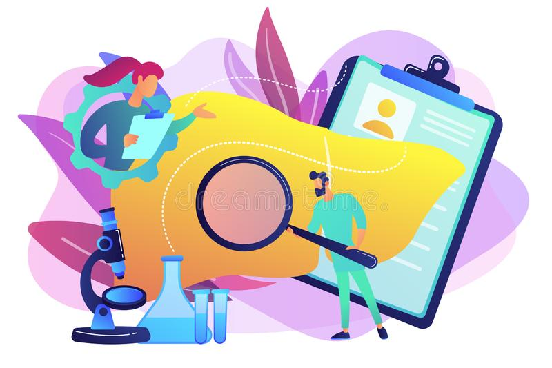 Cirrhosis concept vector illustration. Doctors examining huge liver with magnifier and microscope. Cirrhosis, cirrhosis of the liver and liver disease concept vector illustration