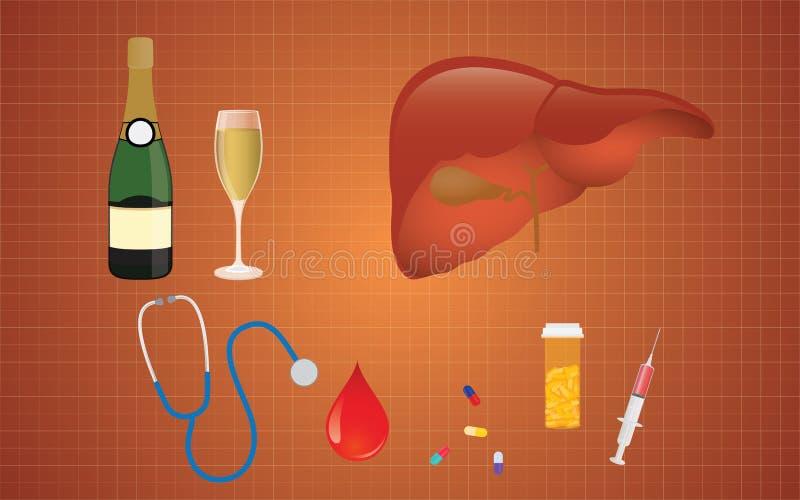 Cirrhosis illustration with liver medicine alcohol as the real cause. Cirrhosis illustration with liver and medicine and alcohol as the real cause vector vector illustration