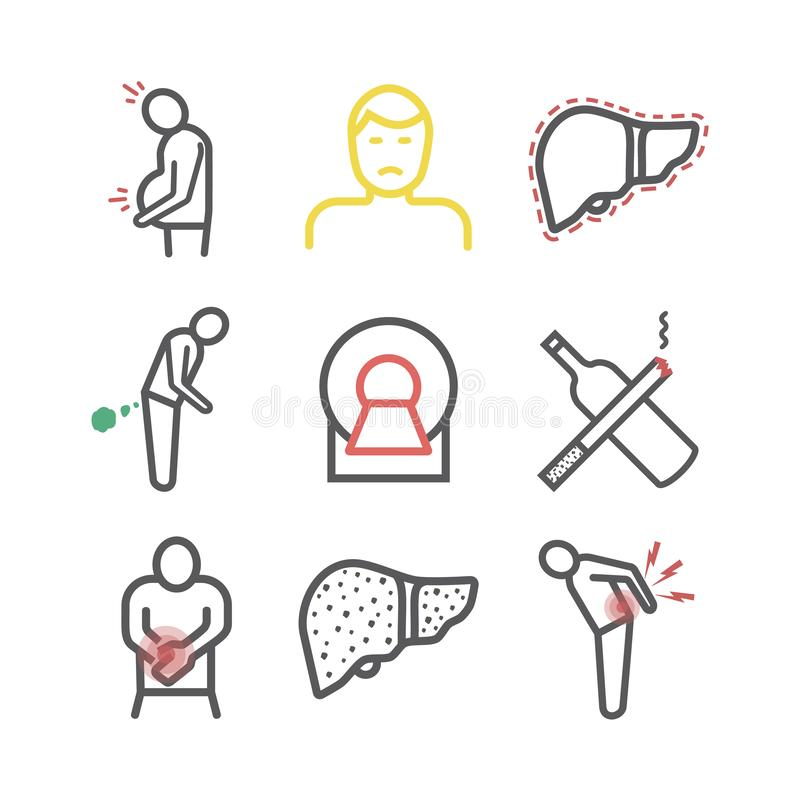 Cirrhosis. Symptoms, Treatment. Vector signs for web graphics. Cirrhosis. Symptoms, Treatment. Flat icons set. Vector signs for web graphics royalty free illustration