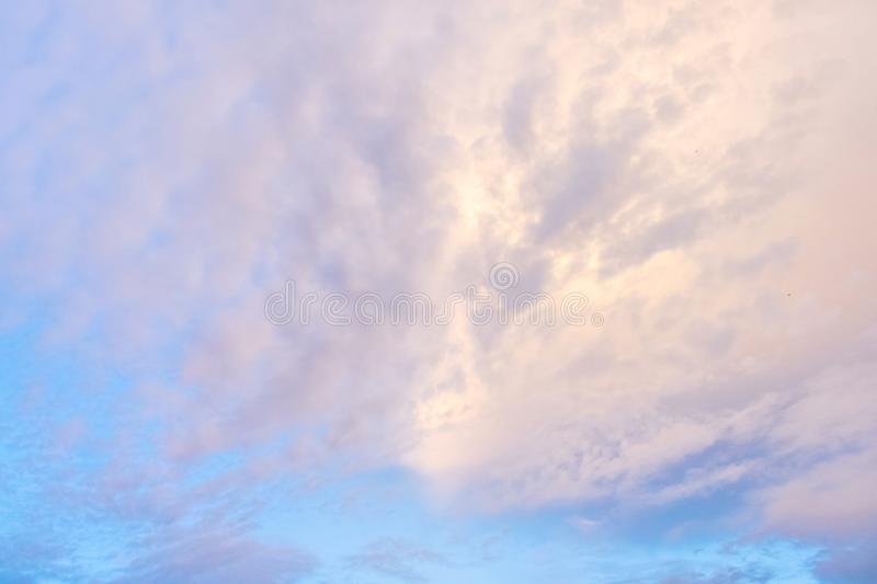 Cirrus clouds with blue sky background in the winter season of Thailand. Photo of Cirrus clouds with blue sky background in the winter season of Thailand royalty free stock image